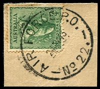 Lot 1488:Air Force PO 22: - 'AIR FORCE P.O./24MY43/NO 22.' (Batchelor - arcs 4,3½) on 4d Koala on piece.