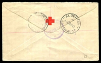 Lot 1489 [2 of 2]:Alice Springs Military P.O.: - violet double-circle '[MIL. P].O./12MAR1943/ALICE SPRINGS, N.T.' (better backstamp) on 4d Koala pair on registered air cover with blue provisional label, boxed 'AUSTRALIAN/MILITARY FORCES/PASSED BY CENSOR/1008' on face, a few tone spots.  PO 5/3/1941; closed 15/1/1946.