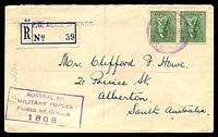 Lot 1489 [1 of 2]:Alice Springs Military P.O.: - violet double-circle '[MIL. P].O./12MAR1943/ALICE SPRINGS, N.T.' (better backstamp) on 4d Koala pair on registered air cover with blue provisional label, boxed 'AUSTRALIAN/MILITARY FORCES/PASSED BY CENSOR/1008' on face, a few tone spots.  PO 5/3/1941; closed 15/1/1946.