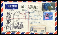 Lot 7314 [1 of 2]:Alice Springs South: - 'ALICE SPRINGS SOUTH/29JE70/N.T.-AUST' on 5c & 25c on air cover to Melbourne with blue provisional registration label.  PO 15/6/1960; closed 27/3/1987.