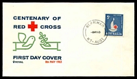 Lot 6322:Berrimah: 'BERRIMAH/8MY63/NT-AUST' on 5d Red Cross FDC.  PO 2/1/1957.
