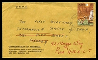 Lot 1385:Borroloola: - 'BORROLOOLA/26MY70/NT-AUST' on 5c on OHMS cover to Sydney, then redirected to Canberra.  PO 1/9/1886.