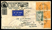 Lot 7779:Daly Waters: - 'DALY WATERS/8OC34/N.A.' on ½d orange KGV x4 & 3d Airmail on Queensland Airmail Society cover to Adelaide via Perth (AAMC #429), 'TAX3D' handstamp on face. [Rated 2R]  PO c.1883; closed 30/6/1978.