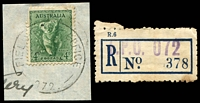 Lot 7788:Field Post Office 22: - 'FIELD POST OFFICE/20SE42/072.' (Adelaide River) on 4d Koala on piece, plus FPO 072 blue provisional registration label