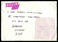 Lot 1386 [1 of 2]:H.M.A.S. Coonawarra: - 21.11.88 cash register receipt for $1.64 on priority paid cover to Melbourne.  PO 9/11/1987; closed 17/9/1993.
