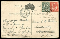 Lot 1544 [1 of 2]:624: BN on ½d & 1d on PPC of 'Stoney Creek Falls.' showing the Cairns railway bridge. Addressed to Scalloway, Shetland (fine cds) and then redirected to Leith. [Rated 2R]  Allocated to Stannary Hills-RO c.-/1/1901; PO c.-/1/1902; closed 26/1/1955.