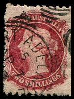 Lot 1288:1870-73 Wmk Large Star Perf 10x11½-12½ or Perf 11½-12½x10 or Compound SG #110 2/- rose-carmine, imperf at right, Cat £60.