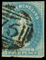 Lot 1799:1857-69 Imperf Chalon Wmk Double-Lined Numeral SG #36 4d pale blue with Wmk Inverted, 4-margins.