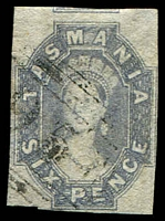 Lot 1941:1860-67 Imperf Chalon Wmk Double-Lined Numeral SG #46 6d grey-violet 4-margins, retail $150.