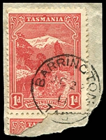 Lot 1967:Barrington: - framed 'BARRINGTON/OC23/11/TAS:' on 1d Pictorial.  PO 1/7/1874.