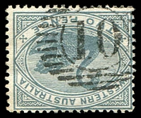 Lot 15570:10: on 1890 2d grey.  Allocated to Bridgetown-Renamed from Geejelup PO c.-/2/1872.