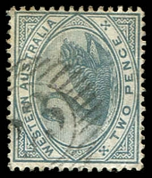 Lot 3411:23: on 1890 2d grey.  Allocated to Gingin-PO 2/1/1855.