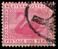 Lot 3347:1898-1907 Wmk W Crown A SG #112w 1d carmine Wmk inverted, Unpriced.