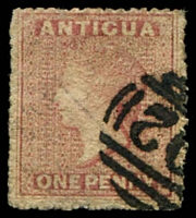 Lot 3084:1863-67 QV Wmk Small Star SG #6 1d dull rose, Cat £55.