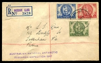 Lot 3103 [1 of 2]:1948 use of Mitchell set, cancelled with 'A.N.A.R.E. MACQUARIE. IS/7MR48/AUST
