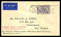 Lot 922 [1 of 2]:Cook (Frank) 1931 Kingsford Smith 6d violet on printed cover from Perth, airmail to Sydney, then ship to New Zealand.