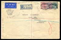 "Lot 1013 [1 of 2]:1932 England - Australia AAMC #245 Registered plain cover for delayed Christmas delivery flight backstamped Brisbane 21JA 32, endorsed ""ONLY/AUSTRALIAN/NATIONAL/AIRWAYS/FLIGHT""."