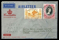 Lot 647 [1 of 2]:1953 QE II Coronation Day Flight AAMC #1318a illustrated Qantas aerogramme flown from Intermediate New Hebrides with appropriate cachet in black.