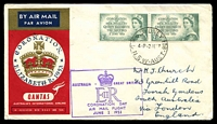 Lot 1023 [1 of 2]:1953 QE II Coronation Day Flight AAMC #1317 illustrated Qantas Coronation flight cover to England with cachet in violet.