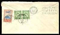 Lot 1024 [2 of 2]:1953 QE II Coronation Day Flight AAMC #1318a illustrated Qantas cover flown from Intermediate Ceylon with appropriate cachet in violet.