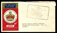 Lot 1024 [1 of 2]:1953 QE II Coronation Day Flight AAMC #1318a illustrated Qantas cover flown from Intermediate Ceylon with appropriate cachet in violet.