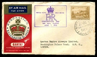 Lot 648 [1 of 2]:1953 QE II Coronation Day Flight AAMC #1318a illustrated Qantas cover flown from Intermediate Norfolk Island with appropriate cachet in violet.