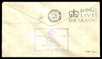 Lot 880 [2 of 2]:1953 QE II Coronation Day Flight AAMC #1318a illustrated Qantas cover flown from Intermediate Mauritius with appropriate cachet in violet.