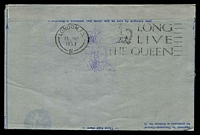 Lot 5423 [2 of 2]:1953 QE II Coronation Day Flight AAMC #1318a Illustrated Qantas Coronation aerogramme Intermediate from New Hebrides with cachet on face.