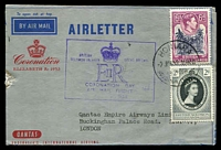 Lot 5423 [1 of 2]:1953 QE II Coronation Day Flight AAMC #1318a Illustrated Qantas Coronation aerogramme Intermediate from New Hebrides with cachet on face.