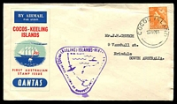 Lot 882:1955 Cocos (Keeling) Island - Australia AAMC #1354 illustrated Qantas cover with adhesive tied by Cocos cds 23NO55 with purple cachet at left.