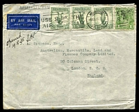 Lot 4596:1935 (Aug 6) use of 1/- Large Lyre x3 & 1d green KGV on air cover to England. [1/1d = 1/6d per ½oz x2 + 1d late fee.]