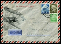 "Lot 4670:1936 (Oct 17) inwards air cover from Germany to Melbourne, endorsed ""By British AIR MAIL"" and ""5g"", attractive illustrated Lufthansa envelope, flown on IE 489."