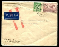 "Lot 5102:1939 (Sep 9) use of 1/6d and 1d on air cover from Melbourne to USA, endorsed ""Air mail via Hong Kong"". Unusual route and rate, airmail label jusqu'a"