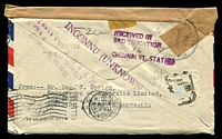 Lot 633 [2 of 2]:1956 (Jan 25) use of 2/- Crocodile on air cover to USA, unable to be delivered and marked for return to sender.