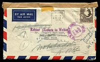 Lot 633 [1 of 2]:1956 (Jan 25) use of 2/- Crocodile on air cover to USA, unable to be delivered and marked for return to sender.