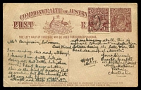 Lot 622 [1 of 2]:1919-20 1½d Brown KGV Sideface With 2-Line Footnote BW #P51 Cat $100, uprated with an additional 1½d brown, the back is illustrated with a cartoon of a WWI digger with his head being a map of Australia. Attractive.