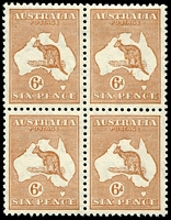 Lot 135:6d Chestnut BW #23 block of 4, three units MUH, Cat $290+, top right unit [4R4] with Retouched top frame over last A of AUSTRALIA.