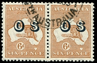 Lot 203:6d Chestnut Overprinted 'OS' pair left unit with Notch in top frame near top and right unit with Damaged framed and shading lines above US of AUSTRALIA, CTO-style cancel with gum.