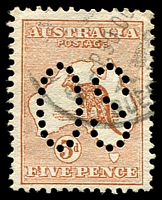 Lot 775:5d Chestnut - BW #16ba perf large 'OS', Cat $65.