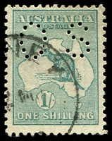 Lot 177:1/- Emerald BW #31ba perf 'OS', Cat $175.