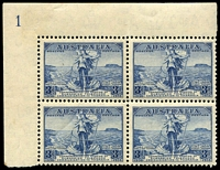 Lot 579:1936 Cable BW #170z 3d Plate 1 TLC block of 4, Cat $60.