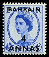 Lot 19215:1952-54 QEII SG #86 4a on 4d ultramarine, Cat £18.