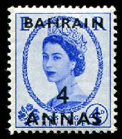 Lot 19216:1952-54 QEII SG #86 4a on 4d ultramarine, Cat £18.