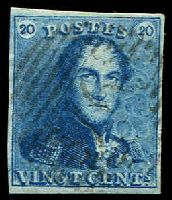 Lot 17501:1849 SG #2 20c blue plate I, 4 even margins, Cat £70, cancelled with '76' of Louvain.