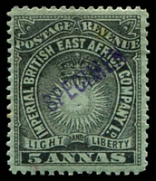 Lot 3389:1895 Light and Liberty No Wmk SG #29s 5s black/grey-blue with violet diagonal 'SPECIMEN' handstamp.
