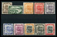 Lot 18201:1947-51 New Colours and Values SG #79-90 simplified set to $1 ex 6c, Cat £15. (10)