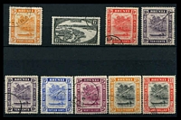 Lot 3410 [1 of 2]:1947-51 New Colours and Values SG #79-90 simplified set to $1 with both 10c perfs, ex 3c, Cat £25. (11)