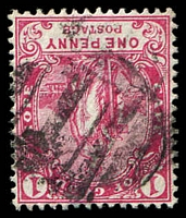 Lot 3796:1: rare vertical bars of Cape Town on 1893 1d carmine. [Rated 500 by Putzel.]