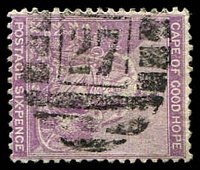 Lot 18556:27: of Simonstown on 1864 6d violet.