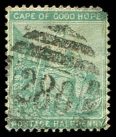 Lot 17675:280: of Engcobo on 1896 ½d green.